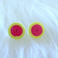 Quilled Paper Earrings - Pink and Yellow -  Handmade, Studs, Round, Paper, Trendy, Fun, Unique, Gift, Colorful, Bright, Casual, Summer, Cute