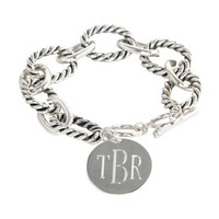 Chunky Chain Monogrammed Bracelet Silver or Gold