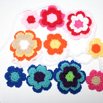 Flower Crochet Garland, Spring Bunting, Rainbow Wall Hanging, Floral Party Decoration, Handmade Home Decor