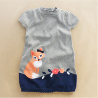 Y035 Retail 2015 New Girl Sweater Dress Patchwork Fox Girl Pullover Knitted Short Sleeve O-Neck Children Clothes Casual