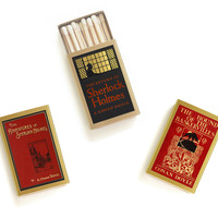 Sherlock Holmes Matchbox Trio - Literary Matchbooks - Pair with a Candle - Tiny Detective Gift - Decorative Matches - Light a Literary Spark