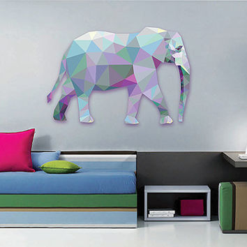 kcik88 Full Color Wall decal Elephant abstract geometric living room bedroom children's room