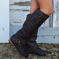 Roundup Wrangler Brown Studded Riding Boots
