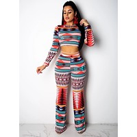 Women Fashion Two Piece Multi-Color Printed Long Sleeve Crop Top Pant Set