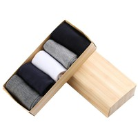 5 Pairs/lot New Fashion Men's Multicolor Pack of Formal Socks 100% Mid-Calf Cotton in a Wooden Box Kit