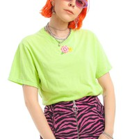 Vintage Y2K Flower Patch Lime Tee - One Size Fits Many