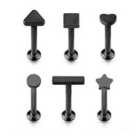 BodyJ4You Labret Stud Cartilage Tragus Earring Heart Star Black 6mm Barbell 16G 6 Pieces