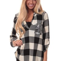 Ivory Checkered Top with Silver Sequin Detail