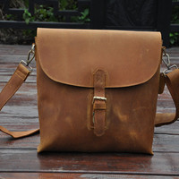 Gift for him, vintage bag, oil tanned leather bag, pure handcrafted with vegetable tanned leather