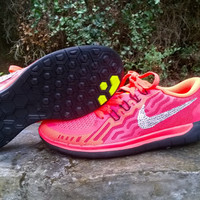 custom nike free 5.0+2 sneakers sport athletic run womens shoes glow red black blinged with crystal swarovski rhinestones