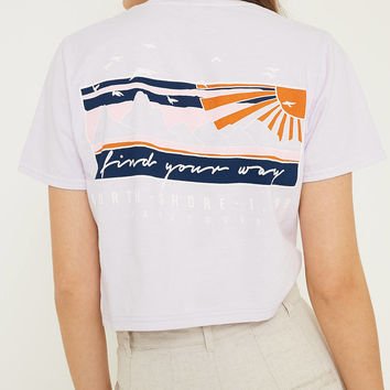 UO Find Your Way Lilac Embroidered Crop T-Shirt   Urban Outfitters