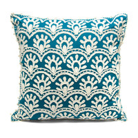 SAMPLE SALE: Peruvian Embroidered Cotton Pillow - Blue