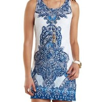 White/Blue Scarf Print Lace Shift Dress by Charlotte Russe