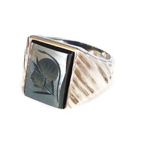 Sterling Hematite Ring Roman Warrior Reverse Intaglio Modernist Mens Jewelry