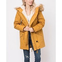 Faux Sherpa Lined Hooded Utility Parka Jacket in More Colors