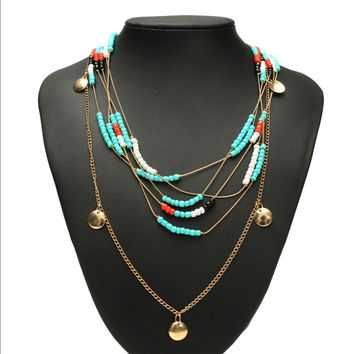 Women Necklace Gold Coin Pendant Beads