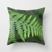 green fern leaves. floral nature wild plant photography. Throw Pillow by NatureMatters
