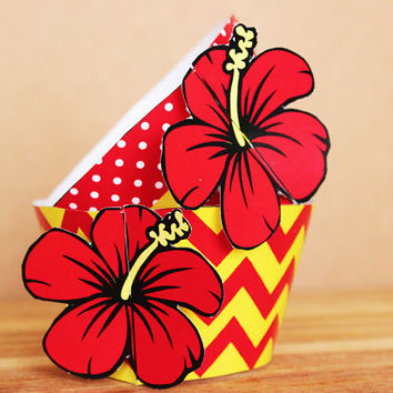 Printable 3D Hibiscus Flower Cupcake Wrapper and Topper Set in bright red and butter yellow chevron and polka dot patterns  INSTANT DOWNLOAD