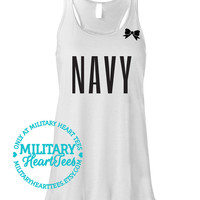 Navy Racerback Tank Top Shirt, Custom Military Shirt for Wife, Fiance, Girlfriend, Workout