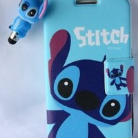 Value Pack - I9300 Blue Stitch Flip Fold Magnet Cover case for Samsung Galaxy S3 III + 1 pc stitch jack dust stopper stylus pen