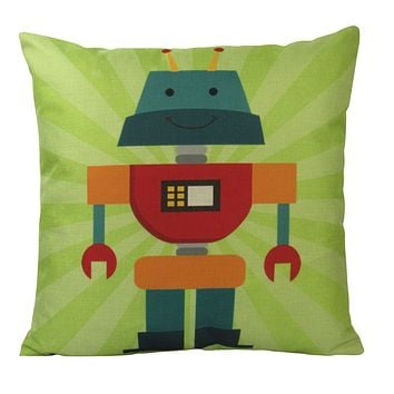 Robot | Light Green |  Fun Gifts | Pillow Cover | Home Decor | Throw Pillows | Happy Birthday | Kids Room Decor | Kids Room | Room Decor