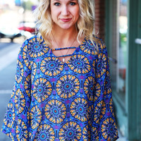 Kaleidoscope Love Blouse {Blue}