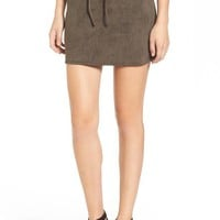 Leith Faux Suede Lace-Up Miniskirt | Nordstrom
