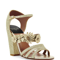 Jasmine Gold Glitter Appliqué Sandals