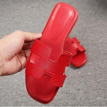 Hermes Fashionable Women Casual Leather Slipper Sandals Shoes Red