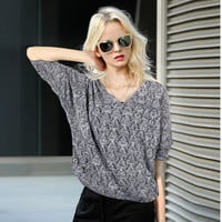 Plus Size Knit Women's Fashion V-neck Batwing Sleeve Pullover Tops [9138780359]