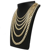 """Raonhazae 14K Gold Plated Concave Cuban Necklace Chain (4-10m) W/ 8""""/9""""/24""""/30"""""""