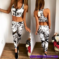 2PCS Yoga Sets Fitness Zipper Push Up Bra+Leggings