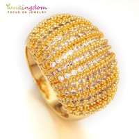 Luxury party ring pave cubic zirconia gold-color finger rings for women romantic jewelry K1888