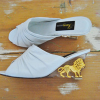 The Lioness - Vintage 90s White Leather and Lucite Wedge Heels with Decorative Gold Lions SZ 8.5
