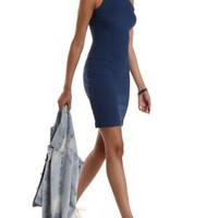 Navy Ribbed Racer Front Bodycon Dress by Charlotte Russe