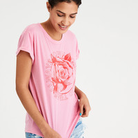 AE Graphic Roll Sleeve Tee, Pink