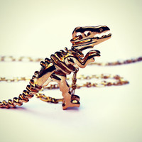gold dinosaur necklace, T-rex necklace, dinosaur skeleton, skeleton necklace, bone necklace, kitsch necklace, long necklace