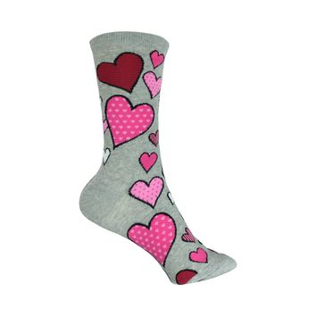 Hearts Crew Socks in Sweatshirt Gray
