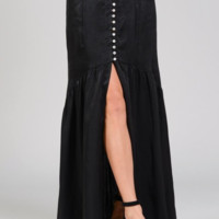 Satin Mother Of Pearl Button Maxi Skirt