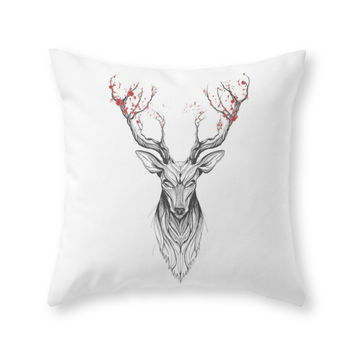 Society6 Deer Tree black Throw Pillow