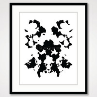 rorschach inkblot test poster, inspirational print, motivational wall decor, black and white art print fun art minimalist simple psychology