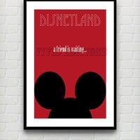 Vintage Mickey Mouse A Friend Is Waiting Disneyland Attraction Poster Reprint -- Not Framed 18x24 - Buy 2 Get 1 Free!