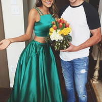 Two Piece Satin Green Prom Dresses
