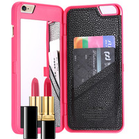Slim Leather Phone Case + Card Slot Cover + Mirror
