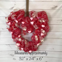 Valentine Wreath- Holiday Wreath- Entryway Wreath- Front Door Decor- Home Decor- Heart Shape Wreath- Valentines Day Gift- Valentines Party
