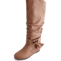 Ankle Bow Slouchy Wedge Boot by Charlotte Russe - Cognac