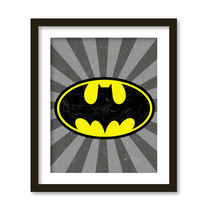 Super hero art, kids wall art, boys room decor, Batman, superheroes logos.