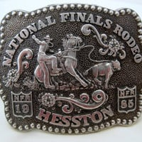Vintage 1985 National Finals Rodeo Western Fred Fellows Collector's Series Belt Buckle