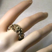 Vintage Brass  Beduoin Chain Mail Style Ring, Size 6.5, 8mm wide