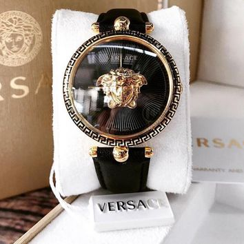 Black Versace Leather Wrist Watch Women Men Fashion Quartz Movement